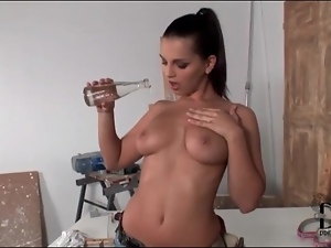 Stripping Eve Angel in work clothes