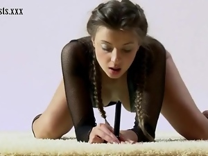 Fishnet lingerie looks hot on teen gymnast