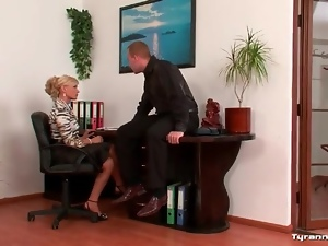 He shows his cock to two sexy girls in office