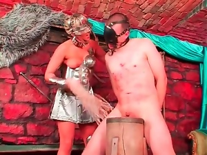 Mistress is brutal with his cock and balls