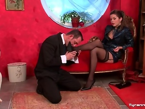 Mistress commands him to strip naked