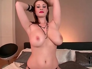 Sexy lipstick on big natural tits girl