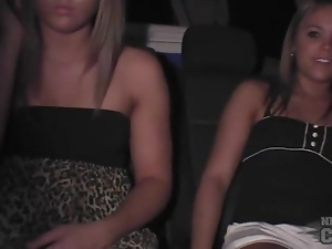 Upskirt amateurs in the back of the car