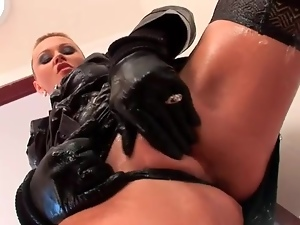 Gloves and skirt on hot slut that rides his cock