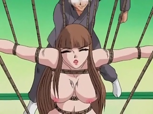 Whipping bound hentai girl had on her back