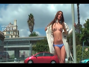 Overcoat flashing with glamorous girl in public