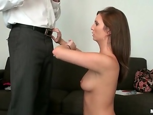 Pretty brunette with slim body sucks dick on knees
