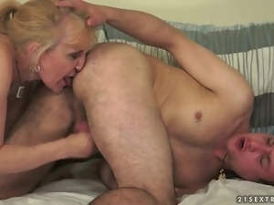 Jerked off and rimmed out by mature blonde