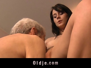 Leda practices sexual exercises with an old man