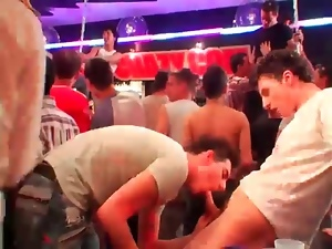 They get wet and sexy dancing at gay bar
