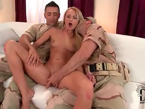 Nude blonde babe grinding on military men