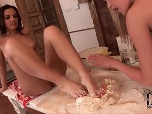 Eggs and flour on the feet of cute lesbian chicks