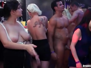 Dicks in cunts of sexy sluts around the bar