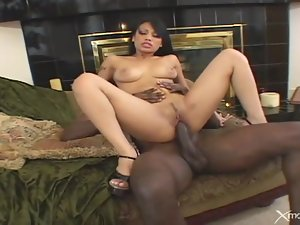 Asian rides black cock and gobbles that knob