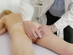 Grandma with tiny tits goes for a fanny checkup