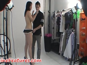 Hot couple show the backstage of their photoshoot