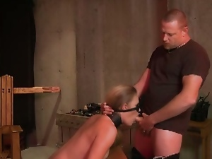 Submissive slave sucks cock after getting bound