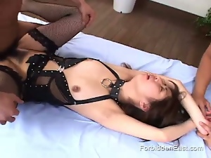 Japanese sex slave gets fucked by two men