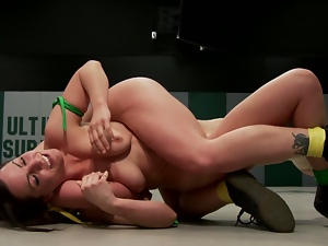 Fantastically great wrestling match of two babes