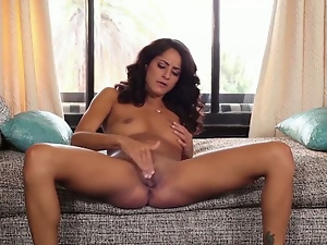 Curly haired girl hot solo