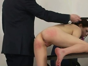 Schoolgirl punished by teacher with spanking