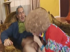 Blonde granny sucking younger daddy