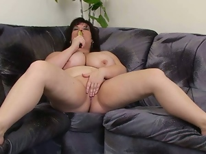 Fatty loves the feeling of a toy in her wet clam