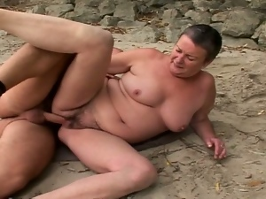 Horny and hairy granny gets fucked by studs