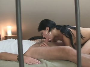 Cheating girlfriend seduces a guy