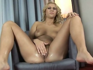 European blonde forces a huge vibrator in her cunt