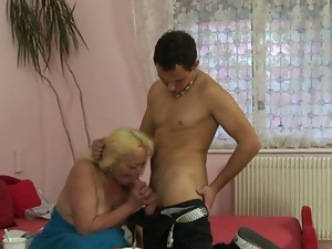 Old blonde granny rides young cock