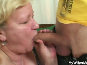 Horny dude bang his wife's mature mom