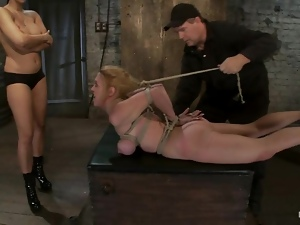 Honey gets hogtied and fucked in her face with a toy