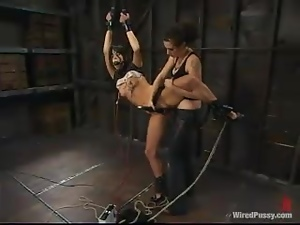 Gagged Roxy Deville gets toyed rough in a femdom video