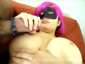 Busty girl in a mask gets rammed in her shaved pussy