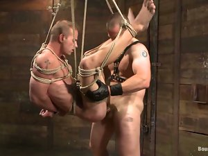 Bound Adam Herst gets his dick tortured and ass fucked