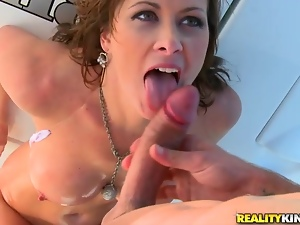 Busty brunette milf Ashlee Raine gets all her holes fucked on a yacht