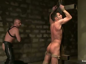Bound Josh West gets his dick sucked and ass drilled by a guy