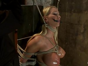 Busty blonde with pigtails gets bound and toyed