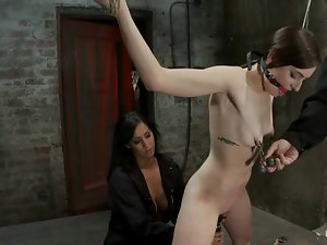 Petite sex slave Missy Minks is being crossed on the sides