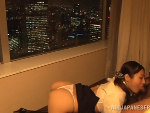 Miwako Yamamoto sucks a dick and gets her mouth filled
