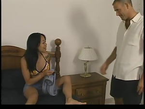 Tattooed Asian skank gets her wet holes fingered and fucked hard