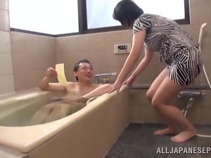 Busty Asian babe's fucked by a horny old man