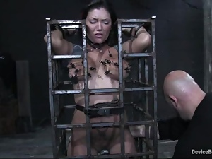 Claire Dames gets her cunt fingered to orgasm in BDSM scene