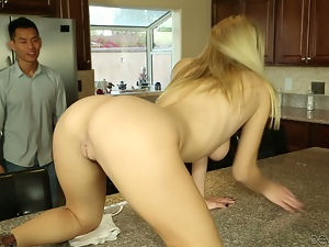Natalia Starr gets fucked in a kitchen by an Asian guy