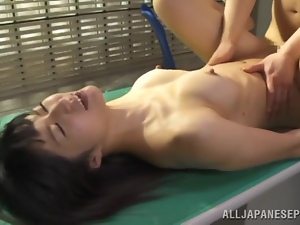 Hot Japanese slut gets fucked on the desk