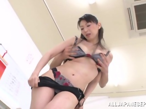 Horny Japanese teacher gets naughty with her student