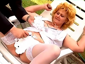 BBW Lisa gets her cunt shaved and fucked in many positions outdoors