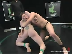 Short-haired Nina and Syd Blakovich enjoy fighting and banging