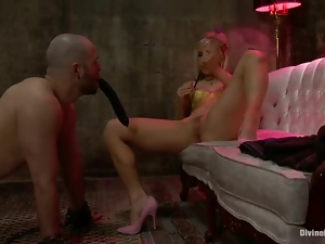 Hot Ashley Fires has fun with her sex slave in a basement